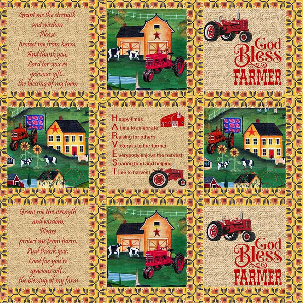 Farmall Folk Art Sampler Fabric - ineedfabric.com