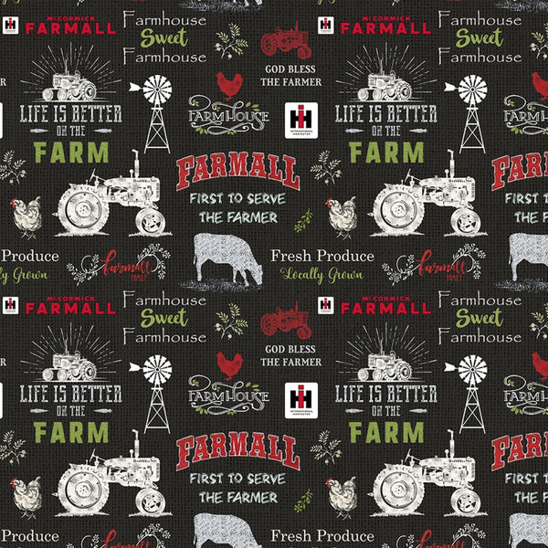 Farmall Sweet Farmhouse Chalkboard Fabric -Black - ineedfabric.com