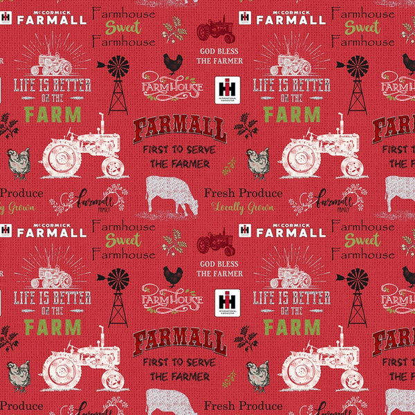 Farmall Sweet Farmhouse Chalkboard Fabric -Red - ineedfabric.com