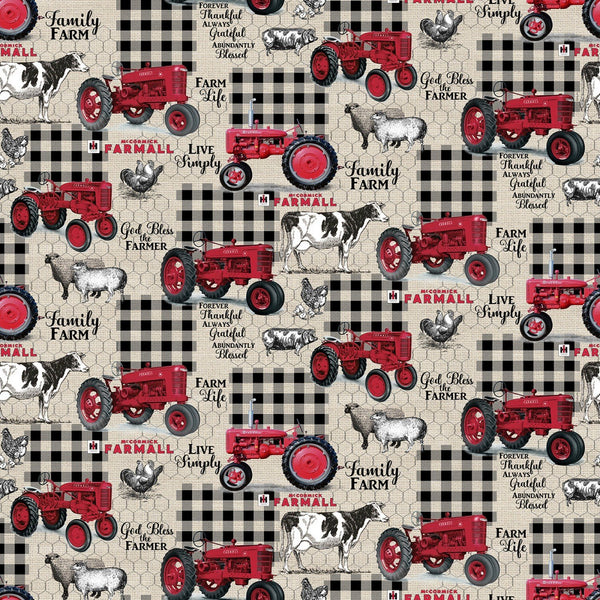 Farmall Sweet Farmhouse Gingham Fabric -Burlap - ineedfabric.com