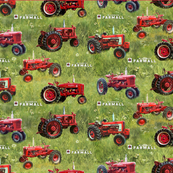 Farmall Sweet Farmhouse Tossed Tractors Fabric - ineedfabric.com