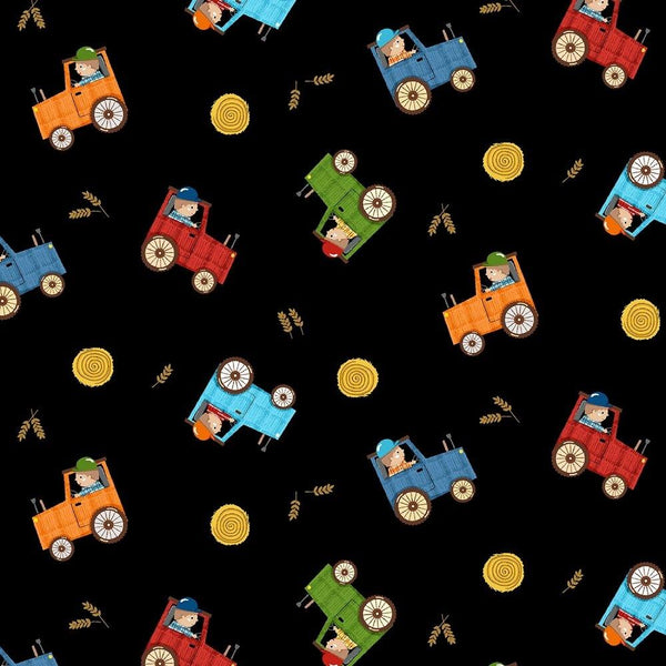 Farmer in Training Fabric - Black - ineedfabric.com
