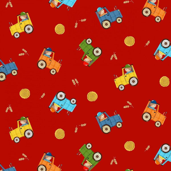 Farmer in Training Fabric - Red - ineedfabric.com