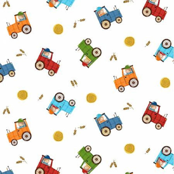 Farmer in Training Fabric - White - ineedfabric.com