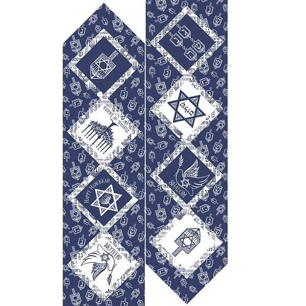 Festival of Lights Table Runner Fabric Panel - Blue - ineedfabric.com