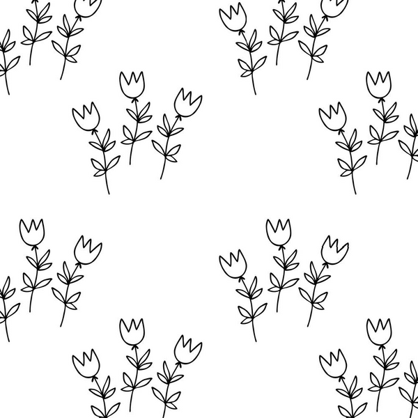 Digitally Printed Small Sketched Tulips Fabric