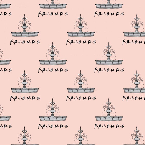 Friends Fountain Flannel Fabric - Peach - ineedfabric.com
