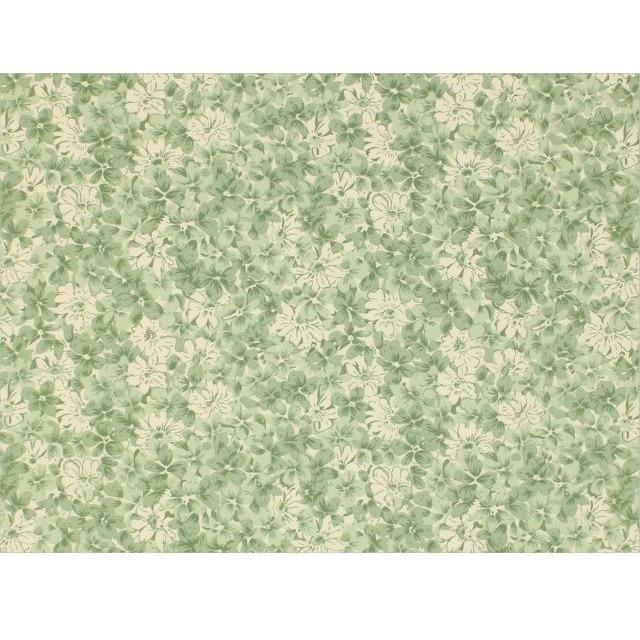 Green and Antique White Vintage Flowers Fabric - ineedfabric.com
