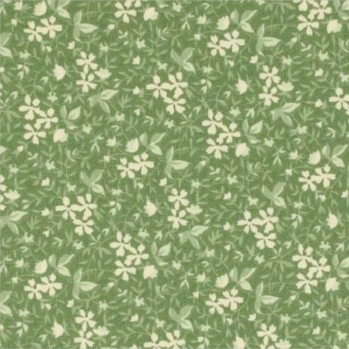 Green Floral and Leaves Fabric - ineedfabric.com