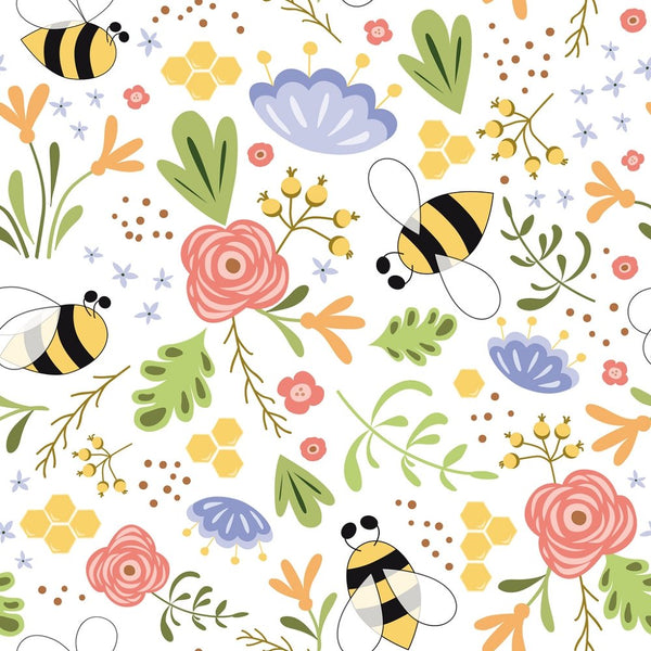 Hand Drawn Cartoon Bee Bright Flowers Fabric - White - ineedfabric.com