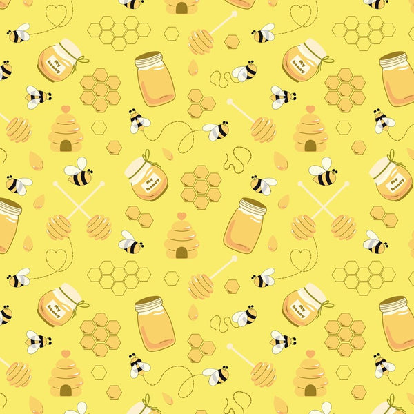 Hand Drawn Cartoon Bees And Honey Fabric - Yellow - ineedfabric.com