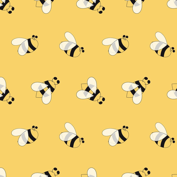 Hand Drawn Cartoon Bees Fabric - Yellow - ineedfabric.com
