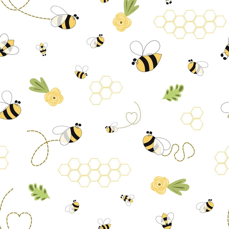 Hand Drawn Cartoon Faded Honeycomb Fabric - White - ineedfabric.com