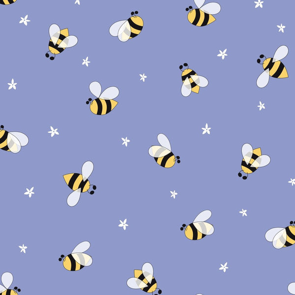 Hand Drawn Cartoon Floral And Bees Fabric - Violet - ineedfabric.com