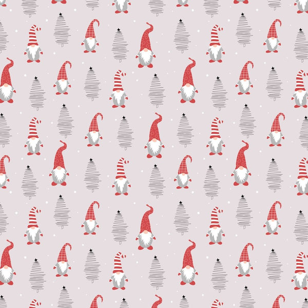 Holiday Gnomes, Hand Drawn Trees And Dots Fabric - Pale Pink - ineedfabric.com