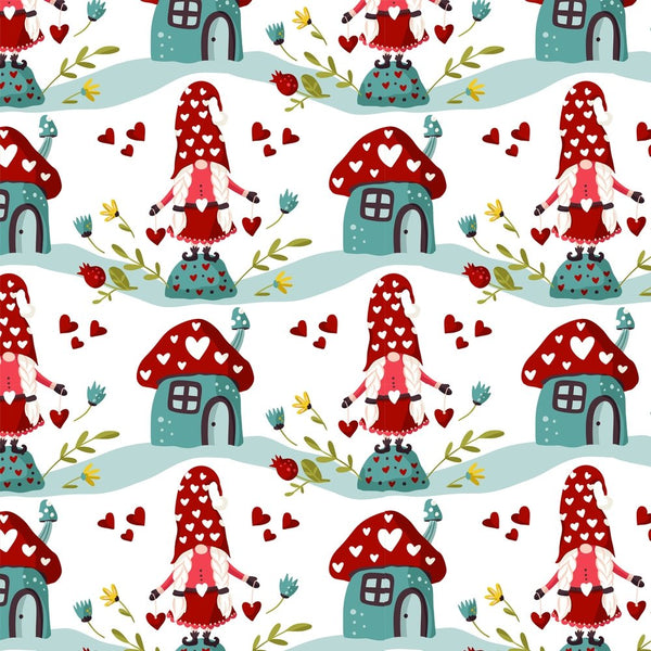 Holiday Gnomes, Hearts & Flowers - Red - ineedfabric.com