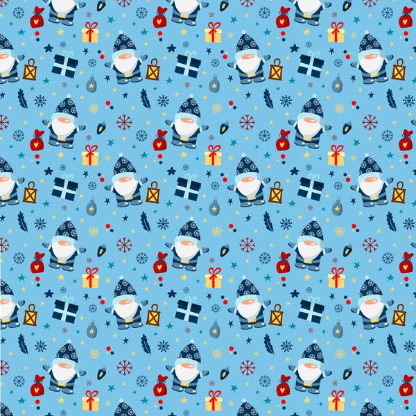 Holiday Gnomes, Snowflakes & Gifts - Blue - ineedfabric.com