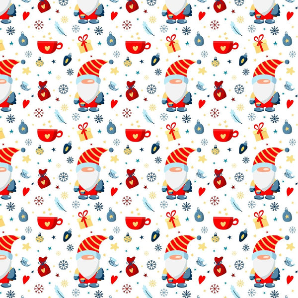 Holiday Gnomes, Snowflakes & Gifts - Red - ineedfabric.com