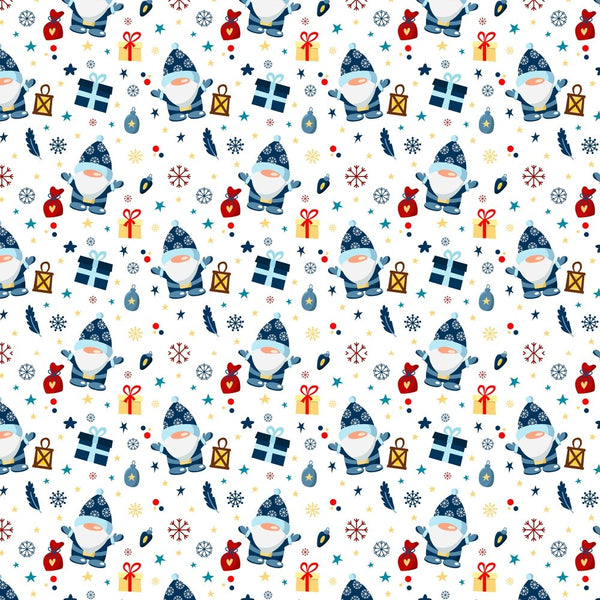 Holiday Gnomes, Snowflakes & Gifts - White - ineedfabric.com