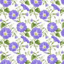 Hydrangea Birdsong, Morning Glory Fabric - Purple - ineedfabric.com