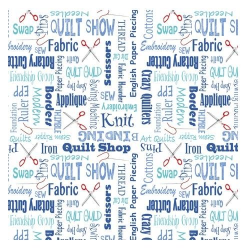 It's A Shop Hop, Quilter's Lingo Fabric - Blue - ineedfabric.com