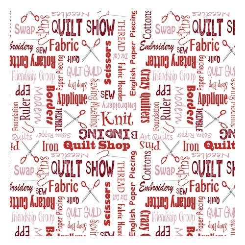 It's A Shop Hop, Quilter's Lingo Fabric - Red - ineedfabric.com