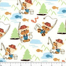 Kid's Time, Fishing Bear Fabric - Cream - ineedfabric.com