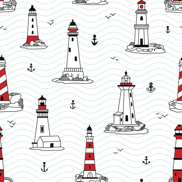 Lighthouses Fabric - ineedfabric.com