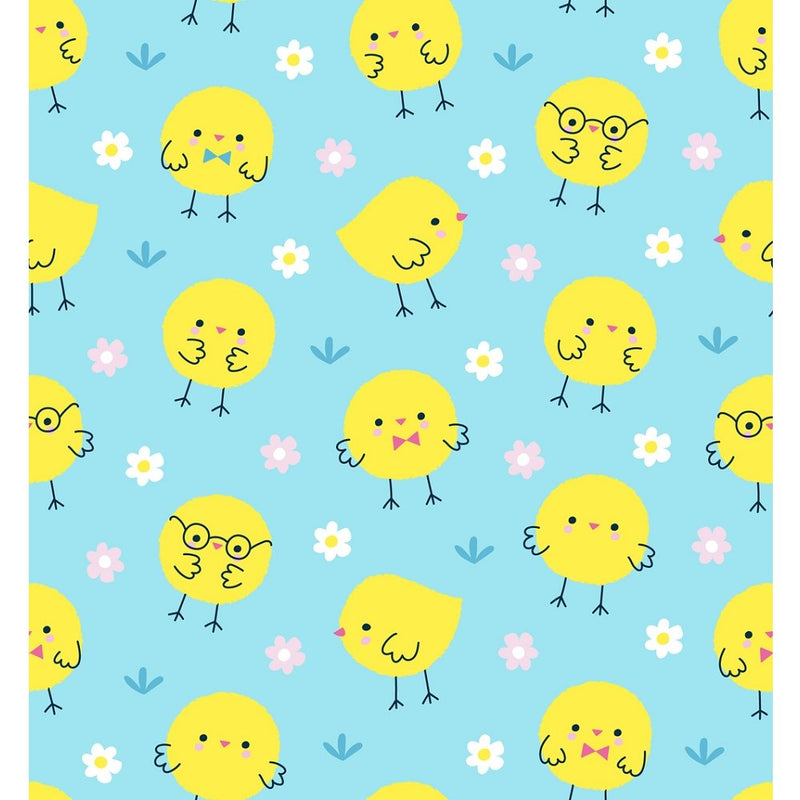 Little Chicks Fabric - Blue - ineedfabric.com
