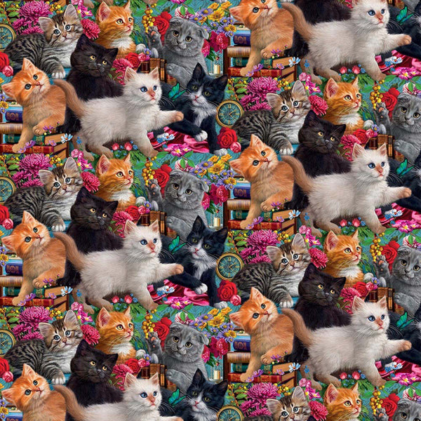 Madame Victoria's Elegant Cats Picked Kittens Fabric - ineedfabric.com