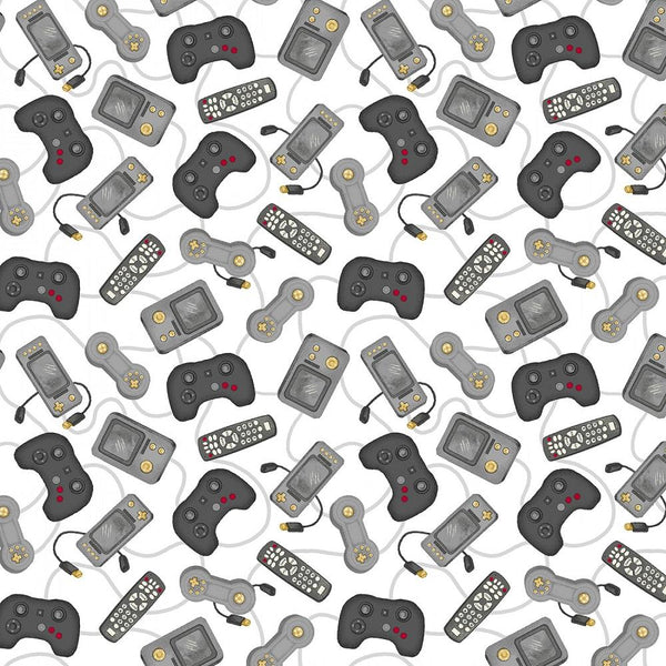 Man Cave, Game Console Controllers Fabric - White - ineedfabric.com