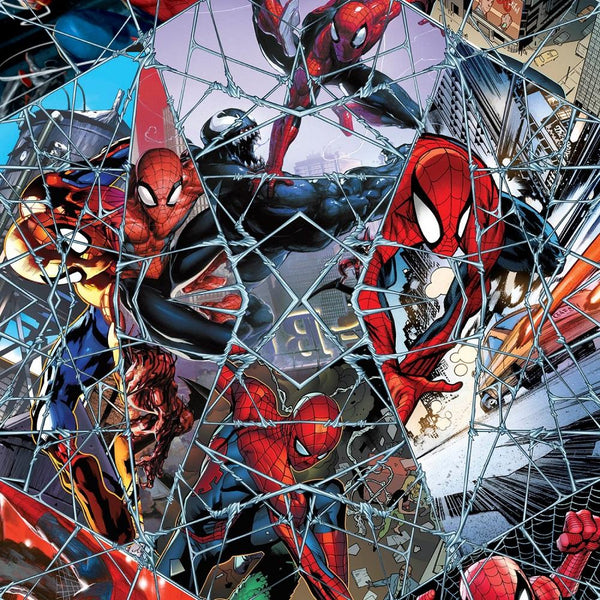 Marvel Spiderman Comic Web Mosaic Fabric - ineedfabric.com