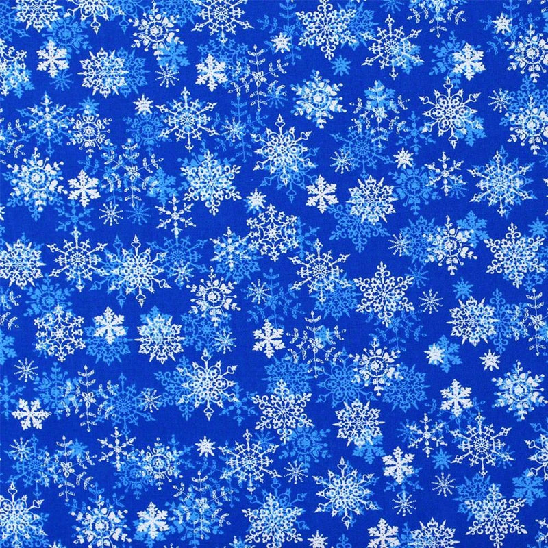 Merry Christmas Basics, Snowflakes Fabric, Blue - ineedfabric.com