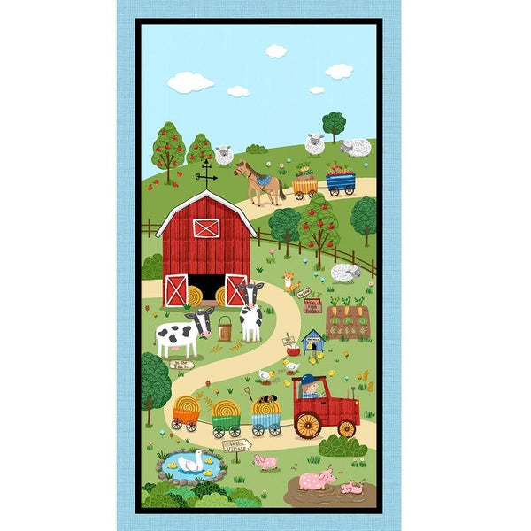 "Michael Miller, Down on the Farm Panel, 24"" - Blue - ineedfabric.com"