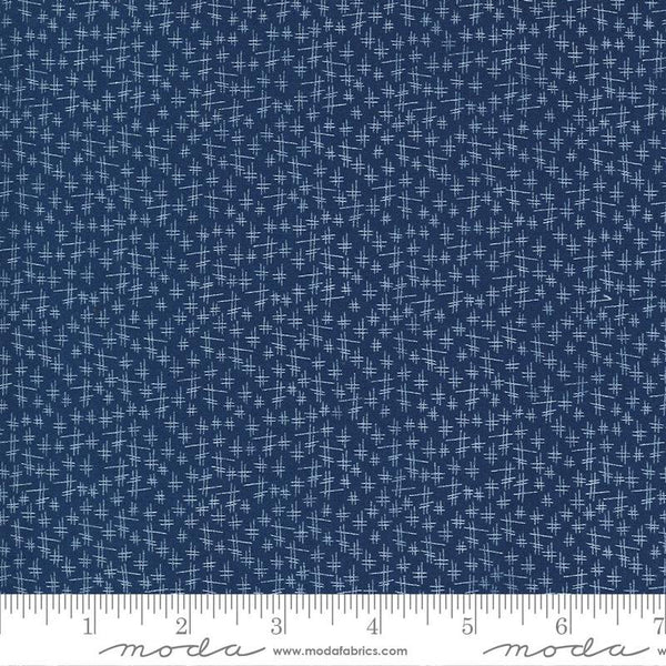 Moda, Chicken Scratch Fabric - Navy - ineedfabric.com