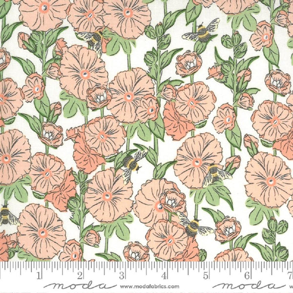 Moda, Hollyhocks Bees Floral Fabric - Blush - ineedfabric.com