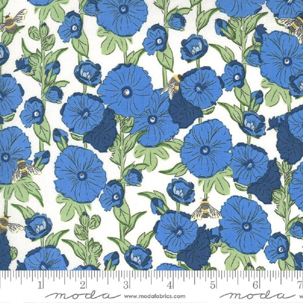 Moda, Hollyhocks Bees Floral Fabric - Cornflower - ineedfabric.com