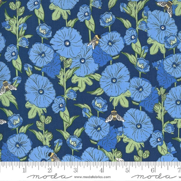 Moda, Hollyhocks Bees Floral Fabric - Navy - ineedfabric.com