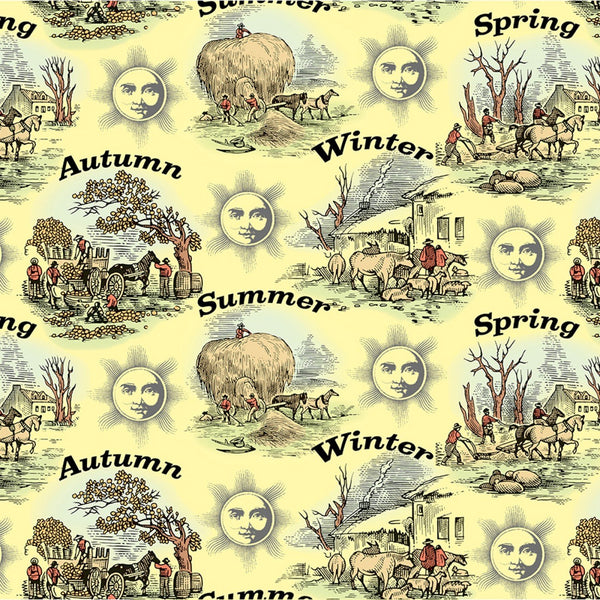 Old Farmers Almanac Floral Seasons Etchings Fabric - ineedfabric.com