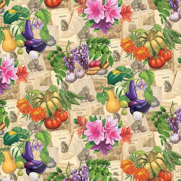 Old Farmers Almanac Floral Vegetables Fabric - Sepia - ineedfabric.com