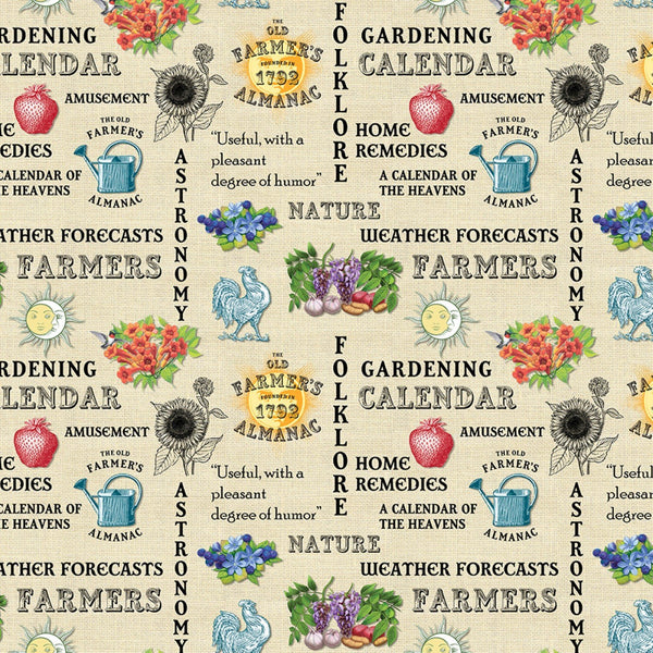 Old Farmers Almanac Floral Words Fabric - Beige - ineedfabric.com