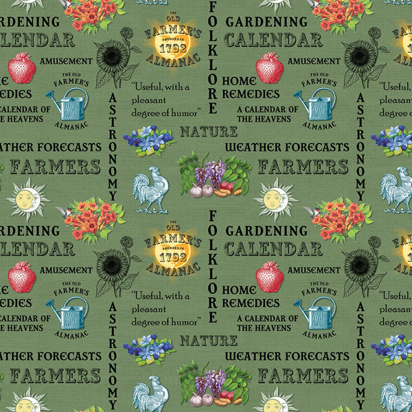 Old Farmers Almanac Floral Words Fabric - Green - ineedfabric.com
