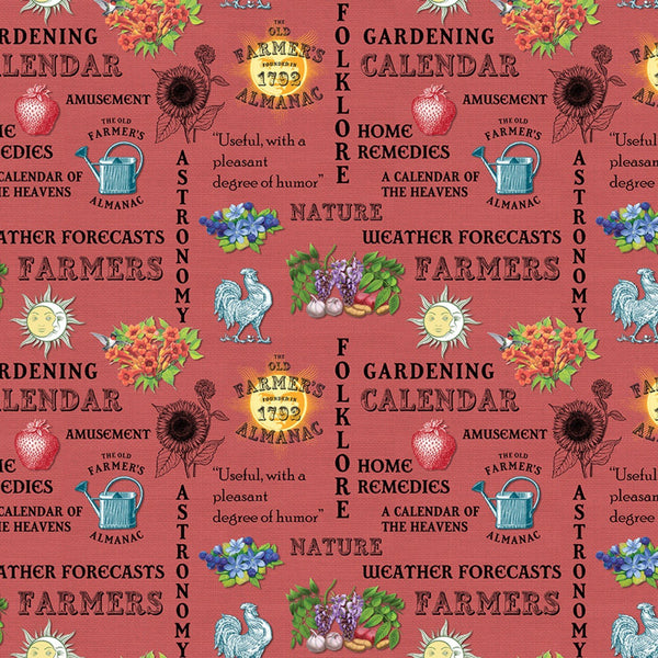 Old Farmers Almanac Floral Words Fabric - Red - ineedfabric.com