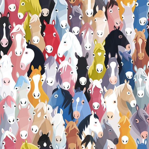 Packed Horses Fabric - ineedfabric.com