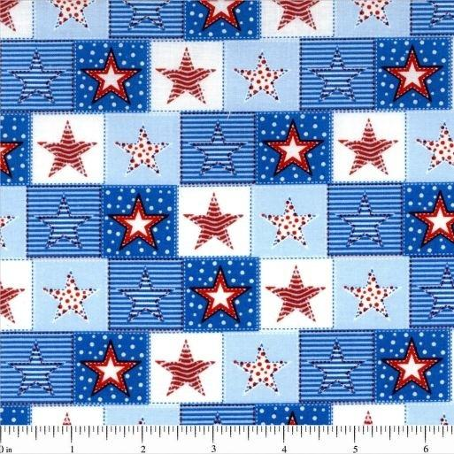 Patriotic Prints, Block Stars Fabric - ineedfabric.com