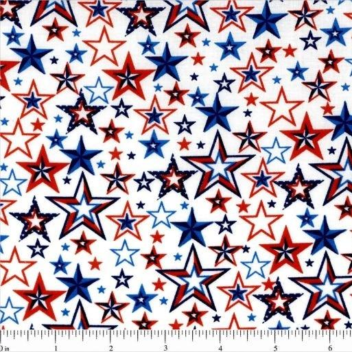 Patriotic Stars Fabric - White - ineedfabric.com
