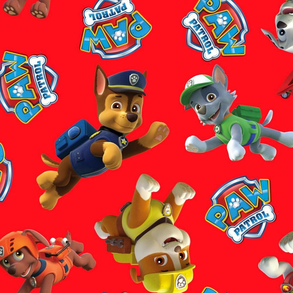 Paw Patrol Tossed Fleece Fabric - Red - ineedfabric.com