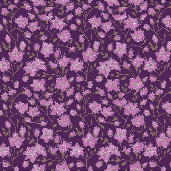 Pink Magnolia Flowers Fabric - Purple - ineedfabric.com