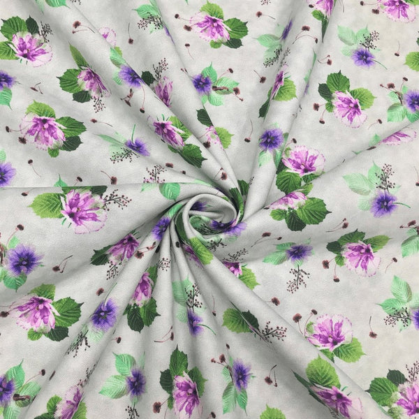 Quilting Treasures, Spaced Floral Fabric - Light Gray - ineedfabric.com