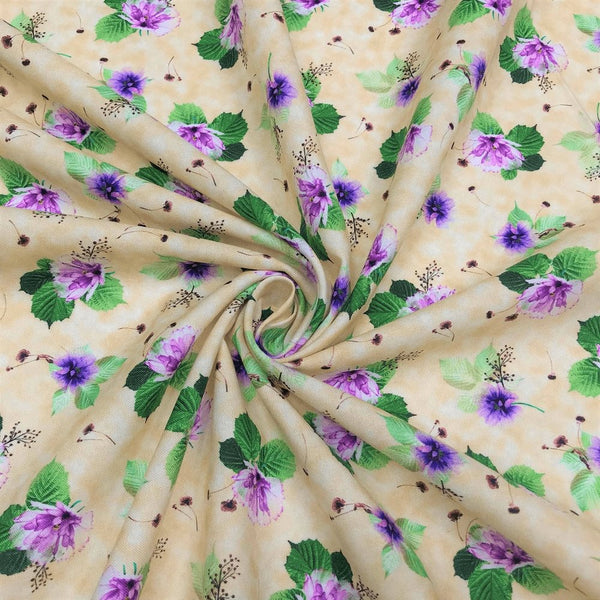 Quilting Treasures, Spaced Floral Fabric - Tan - ineedfabric.com